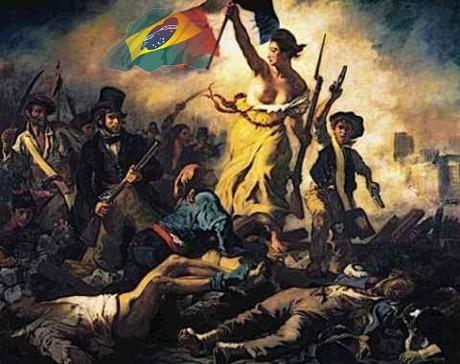Delacroix, A Liberdade guiando o povo (1830, Louvre, Paris) Montagem feita por Jorge Alberto