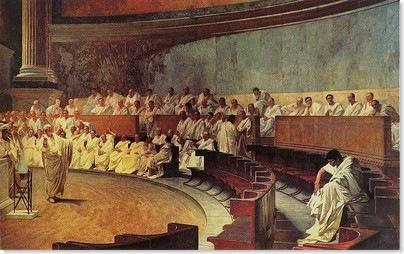Cicero denuncia Catilina. Afresco de Cesare Maccari (1840-1919