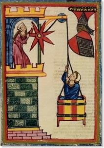 Amante medieval sendo içado numa cesta (ilustração do Codex Manesse do século XIV.