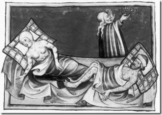 Vitimas da peste bubônica. Biblia de Torgenberg © Bettmann/CORBIS